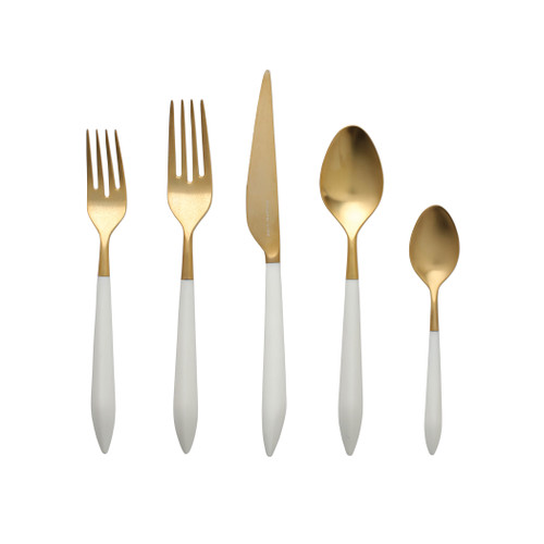 "Vietri Ares Flatware Oro & White Five-Piece Place Setting  ARS-9800GW 6"" - 9.25""L  Ares, a contemporary tribute to Greek mythology, fesatures a contoured matte handle that is both smooth and study. Available in both silver(argento) and gold (oro) finishes. Made by Bugatti in Lumezzane, Italy of 18/10 stainless steel. Dishwasher safe. Restaurant safe. Restaurant and hospitality-grade quality."
