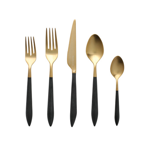 "Vietri Ares Flatware Oro & Black Five-Piece Place Setting  ARS-9800GB 6"" - 9.25""L  Ares, a contemporary tribute to Greek mythology, fesatures a contoured matte handle that is both smooth and study. Available in both silver(argento) and gold (oro) finishes. Made by Bugatti in Lumezzane, Italy of 18/10 stainless steel. Dishwasher safe. Restaurant safe. Restaurant and hospitality-grade quality."