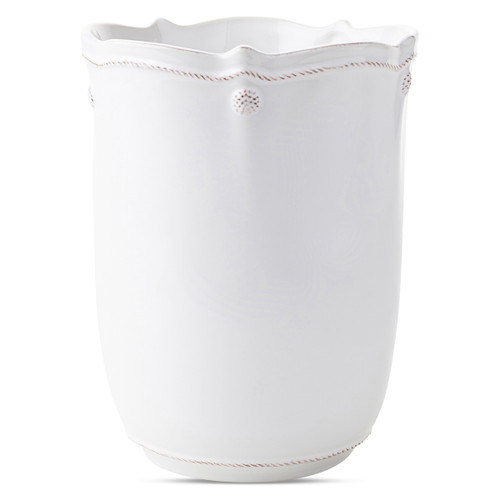 "Juliska Berry & Thread Wastebasket  JAV01/W 8""D, 10""H  Plum Pudding is thrilled to bring Juliska's Berry & Thread staples to the bathroom!   A long overdue and very necessary expansion, this collection kicks off with seven fabulous pieces and two essentials sets for the bath & kitchen.   Made in Portugal."