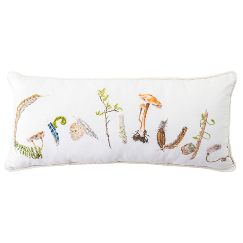 """Juliska Forest Walk Gratitude Pillow  PW10/90 12"""" x 27""""  Juliska's Forest Walk sentiment pillows are beautifully printed in vibrant colors and then delicately embroidered with intricate details. Stuffed with 10% down and 90% feather fill."""