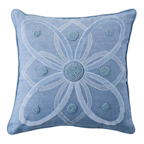 """Juliska Berry & Thread Chambray 18"""" Pillow  PW04/47 18"""" SQ  Featuring the medallions from the Alcazar and Landriana gardens, these two-tone pillows are made in soft linen, adorned with velvet applique and hand-stitched French knots and filled with 10% down and 90% feather fill. Display these in the bedroom or on the couch in your choice of natural or chambray blue colorways.  Pillow cases: Machine wash cold. Tumble dry low. Iron if needed."""