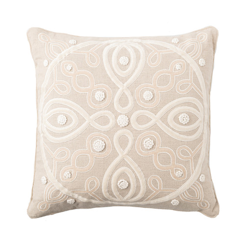 """Juliska Berry & Thread Natural 18"""" Pillow  PW02/66 18"""" SQ  Featuring the medallions from the Alcazar and Landriana gardens, these two-tone pillows are made in soft linen, adorned with velvet applique and hand-stitched French knots and filled with 10% down and 90% feather fill. Display these in the bedroom or on the couch in your choice of natural or chambray blue colorways.  Pillow cases: Machine wash cold. Tumble dry low. Iron if needed."""