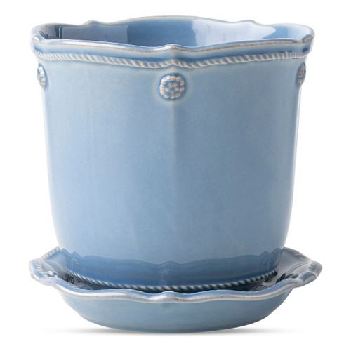 """Berry & Thread Chambray 5.25"""" Planter & Saucer  JA136/47 5.5"""" Diameter, 5.25""""H (1Qt)  Sprinkle every room with beauty and comfort.  Pot fresh plants round the house from window sill to kitchentable with Juliska's Berry & Thread planters.  These are the little luxuries that turn a house into a home."""