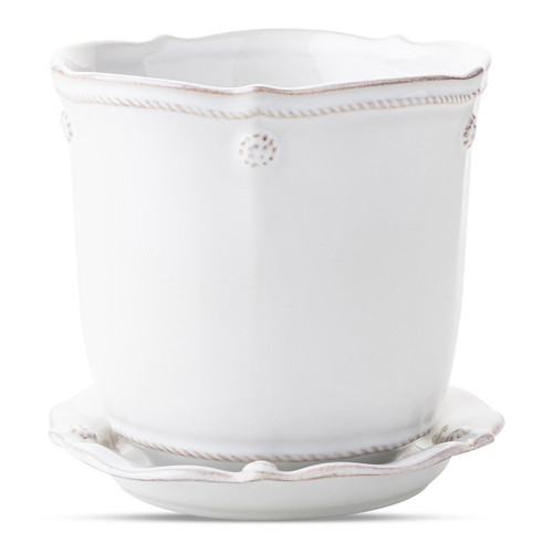 "erry & Thread White 5.25"" Planter & Saucer  JA136/W 5.5"" Diameter, 5.25""H (1Qt)  Sprinkle every room with beauty and comfort.   Pot fresh plants round the house from window sill to kitchen table with Juliska's Berry & Thread planters.  These are the little luxuries that turn a house into a home."