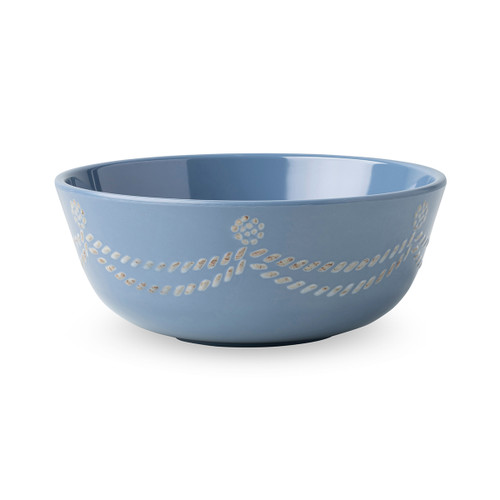 """Juliska Berry & Thread Chambray Melamine Cereal/Ice Cream Bowl  MA09/47 6""""W, 2.5""""H, 16oz  Whether you decide crunchy granola or a la mode, this Berry & Thread cereal/ice cream bowl detailed with subtle thread and berries motif is super family-friendly and accessible for a sleepover sundae bar, morning breakfast or yogurt for snack time."""