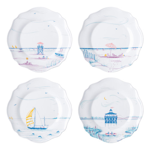 "Country Estate Seaside Melamine Dessert/Salad Plates Set/4  MA125SET/88 8.25""W  Juliska's foray to the English seaside continues on a scalloped melamine dinner and an assorted set of 4 dessert/salad plates for beachside picnics or backyard dinners.  BPA free.  Dishwasher safe.  Not suitable for oven, microwave or freezer."