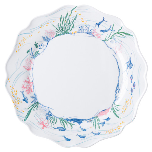 """Country Estate Seaside Melamine Dinner Plate  MA120/88 10.25""""W  Juliska's foray to the English seaside continues on a scalloped melamine dinner and an assorted set of 4 dessert/salad plates for beachside picnics or backyard dinners.  BPA free. Dishwasher safe. Not suitable for oven, microwave or freezer."""
