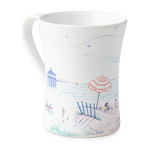"Juliska Country Estate Seaside Mug  CE06/88 5""L, 3.35W, 4.5""H (12oz)  Juliska's Country Estate residents go on Holiday to the English seaside.   Read a book on the beach under an umbrella, set sail on the ocean, soak in the sun on the lifeguard stand or go fishing off the pier.   Then dive into the water and explore the beautiful sea life on the scallop dinner plate and serving bowl.  Each piece features unique artwork in a sun washed pallet of pastel hues.   Made in Portugal.  Dishwasher, freezer, microwave and oven safe."