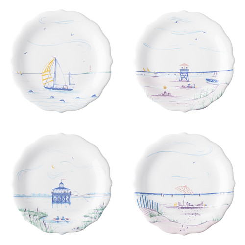 """Juliska Country Estate Seaside Party Plates Set/4  CE63/88 8.5"""" D  Juliska's Country Estate residents go on Holiday to the English seaside.  Read a book on the beach under an umbrella, set sail on the ocean, soak in the sun on the lifeguard stand or go fishing off the pier.  Then dive into the water and explore the beautiful sea life on the scallop dinner plate and serving bowl. Each piece features unique artwork in a sun washed pallet of pastel hues.  Made in Portugal. Dishwasher, freezer, microwave and oven safe."""