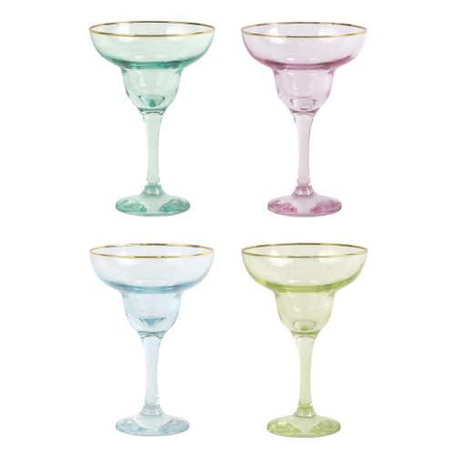 "Vietri Rainbow Assorted Margarita Glasses Set/4  VBOW-52153 6.5""H, 4oz  Add sparkle to any setting with a gilded gold rim and varied colored glass that refracts light on the Rainbow Assorted Margarita Glasses - Set of 4."