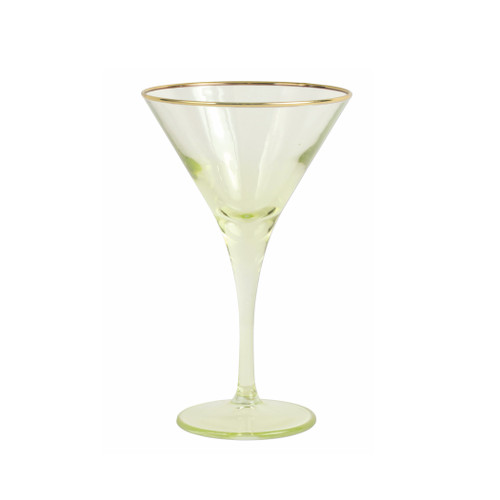 "Vietri Rainbow Yellow Martini Glass  VBOW-Y52152 7""H, 4oz  Add sparkle to any setting with a gilded gold rim and varied colored glass that refracts light on the Rainbow Yellow Martini Glass."