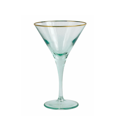 "Vietri Rainbow Green Martini Glass  VBOW-G52152 7""H, 4oz  Add sparkle to any setting with a gilded gold rim and varied colored glass that refracts light on the Rainbow Green Martini Glass."