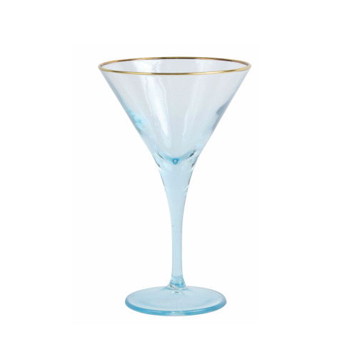 "Vietri Rainbow Turquoise Martini Glass  VBOW-T52152 7""H, 4oz  Add sparkle to any setting with a gilded gold rim and varied colored glass that refracts light on the Rainbow Turquoise Martini Glass."