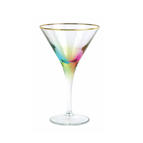 "Vietri Rainbow Multi-Colored Martini Glass  VBOW-M52152 7""H, 4oz  Add sparkle to any setting with a gilded gold rim and varied colored glass that refracts light on the Rainbow Multi-Colored Martini Glass."