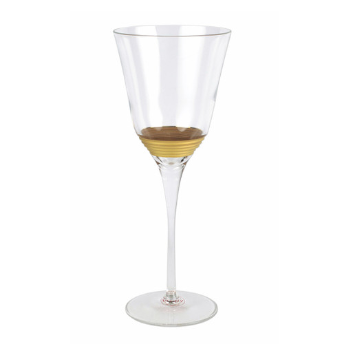 A gilded gold design encircles the classic shape of the Raffaello Striped Wine Glass.