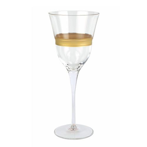 "Vietri Raffaello Banded Wine Glass  RAE-8820B 9.5""H, 9oz  A gilded gold design encircles the classic shape of the Raffaello Banded Wine Glass."