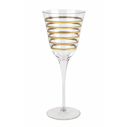 "Vietri Raffaello Swirl Wine Glass  RAE-8820A 9.5""H, 9oz  A gilded gold design encircles the classic shape of the Raffaello Swirl Wine Glass."
