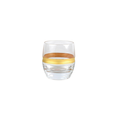 "Vietri Raffaello Banded Double Old Fashioned  RAE-8812B 3.75""H, 10oz  A gilded gold design encircles the classic shape of the Raffaello Banded Double Old Fashioned."