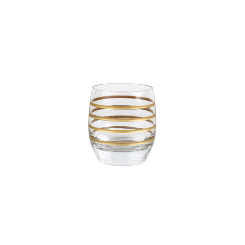 "Vietri Raffaello Swirl Double Old Fashioned  RAE-8812A 3.75""H, 10oz  A gilded gold design encircles the classic shape of the Raffaello Swirl Double Old Fashioned."
