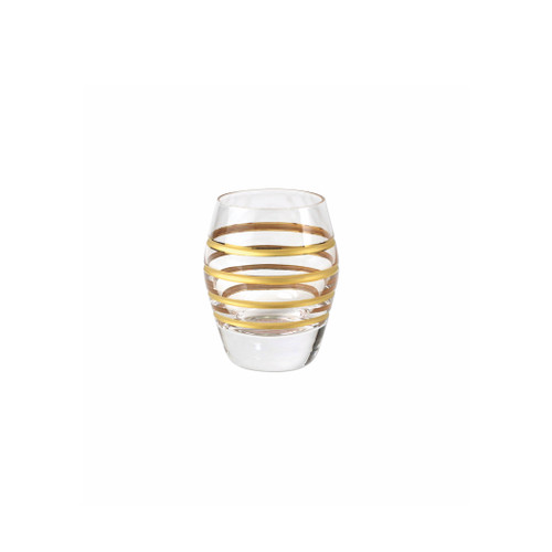 "Vietri Raffaello Swirl Liquor Glass  RAE-8814A 2.75""H, 1.5oz  A gilded gold design encircles the classic shape of the Raffaello Swirl Liquor Glass."