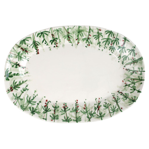 "Vietri Erbe Rosemary Large Oval Platter  HER-2626 20""L, 13.5""W  The aromatic Tuscan garden, an Italian tradition, is reimagined with maestro artisan Alessandro Taddei's handpainted touch in vibrant greens of basil, rosemary, parsley and sage.  Handpainted on terra bianca in Tuscany.  Dishwasher safe."