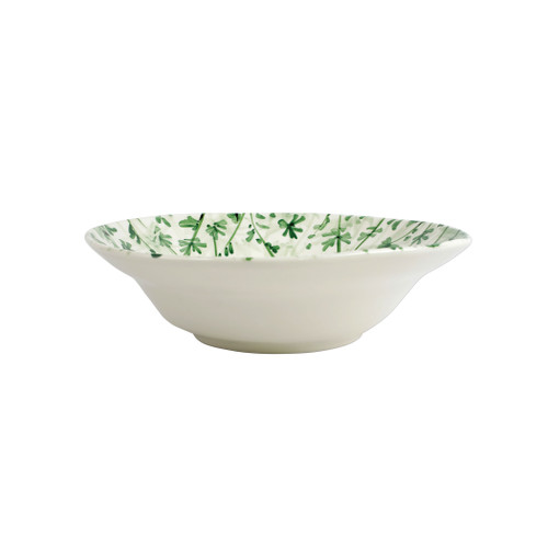 """Vietri Erbe Parsley Shallow Serving Bowl  HER-2631 12.25""""D, 3.5""""H  The aromatic Tuscan garden, an Italian tradition, is reimagined with maestro artisan Alessandro Taddei's handpainted touch in vibrant greens of basil, rosemary, parsley and sage.  Handpainted on terra bianca in Tuscany. Dishwasher safe."""