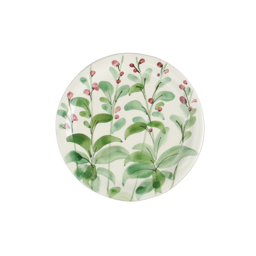 """Vietri Erbe Sage Salad Plate  HER-2601S 8.75""""D  The aromatic Tuscan garden, an Italian tradition, is reimagined with maestro artisan Alessandro Taddei's handpainted touch in vibrant greens of basil, rosemary, parsley and sage.  Handpainted on terra bianca in Tuscany. Dishwasher safe."""