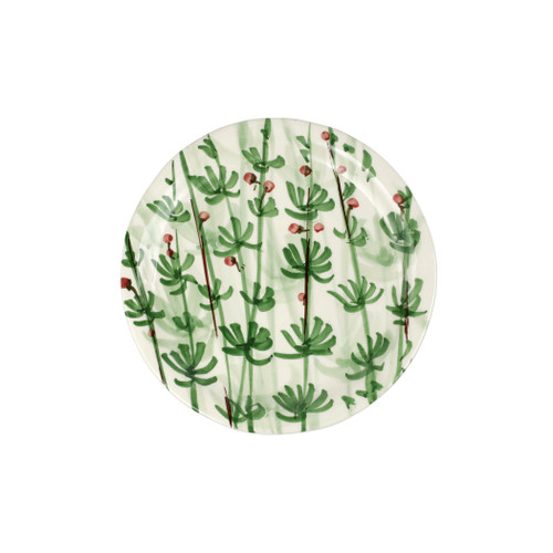 "Vietri Erbe Rosemary Salad Plate  HER-2601R 8.75""D  The aromatic Tuscan garden, an Italian tradition, is reimagined with maestro artisan Alessandro Taddei's handpainted touch in vibrant greens of basil, rosemary, parsley and sage.  Handpainted on terra bianca in Tuscany.  Dishwasher safe."