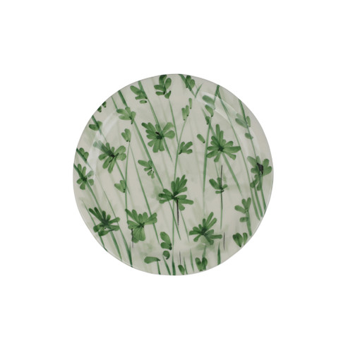 """Vietri Erbe Parsley Salad Plate  HER-2601P 8.75""""D  The aromatic Tuscan garden, an Italian tradition, is reimagined with maestro artisan Alessandro Taddei's handpainted touch in vibrant greens of basil, rosemary, parsley and sage.  Handpainted on terra bianca in Tuscany. Dishwasher safe."""