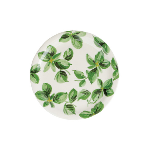 """Vietri Erbe Basil Salad Plate  HER-2601B 8.75""""D  The aromatic Tuscan garden, an Italian tradition, is reimagined with maestro artisan Alessandro Taddei's handpainted touch in vibrant greens of basil, rosemary, parsley and sage.  Handpainted on terra bianca in Tuscany. Dishwasher safe."""