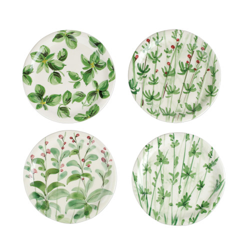 "Vietri Erbe Assorted Salad Plates Set/4  HER-2601 8.75""D  The aromatic Tuscan garden, an Italian tradition, is reimagined with maestro artisan Alessandro Taddei's handpainted touch in vibrant greens of basil, rosemary, parsley and sage.  Handpainted on terra bianca in Tuscany.  Dishwasher safe."
