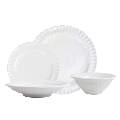 "Vietri Pietri Serena Sixteen-Piece Place Setting  PIE-2600S-16 7.5""-11.5""D   Pietra Serena, meaning serene stone, represents the simplistic beauty of the handpressed design found on the Pietra Serena Sixteen-Piece Place Setting.  The set includes 4 Dinner Plates, 4 Salad Plates, 4 Cereal Bowls and 4 Pasta Bowls."