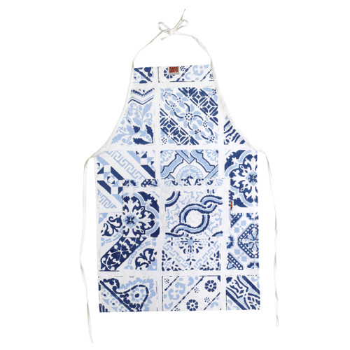 Siciliano Linens Mosaic Children's Apron  SCI-2195M O/S  Siciliano Linens are made of 100% cotton in Sicily using a serigraphy (silk screening) technique. Imperfections are to be expected and appreciated as they emphasize the artistic creation and dedication to making each piece unique due to the handcrafted process.  Machine wash cold, lay flat to dry. Warm iron if desired. Do not dry clean.