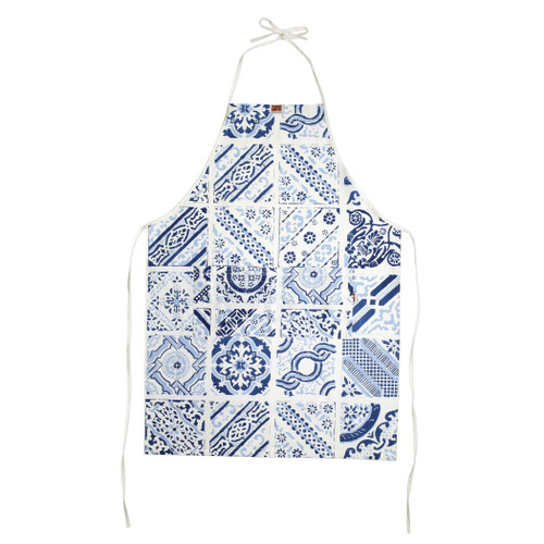 Siciliano Linens Mosaic Adult Apron  SCI-2196M O/S  Siciliano Linens are made of 100% cotton in Sicily using a serigraphy (silk screening) technique. Imperfections are to be expected and appreciated as they emphasize the artistic creation and dedication to making each piece unique due to the handcrafted process.  Machine wash cold, lay flat to dry. Warm iron if desired. Do not dry clean.