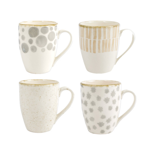 """Vietri Viva Earth Mugs Assorted Set/4  VETH-003010 4.4""""H, 14oz  The Earth Assorted Mugs combine mid-century neutral tones with simple silhouettes in four versatile handpainted patterns."""