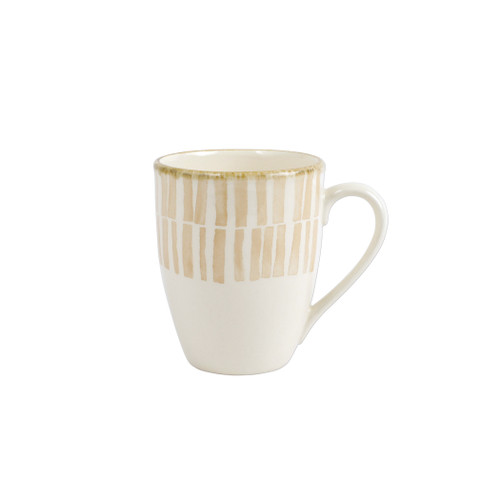 "Vietri Viva Earth Bamboo Mug  VETH-003010B 4.4""H, 14oz  The Viva Earth Mugs combine mid-century neutral tones with simple silhouettes in four versatile handpainted patterns."