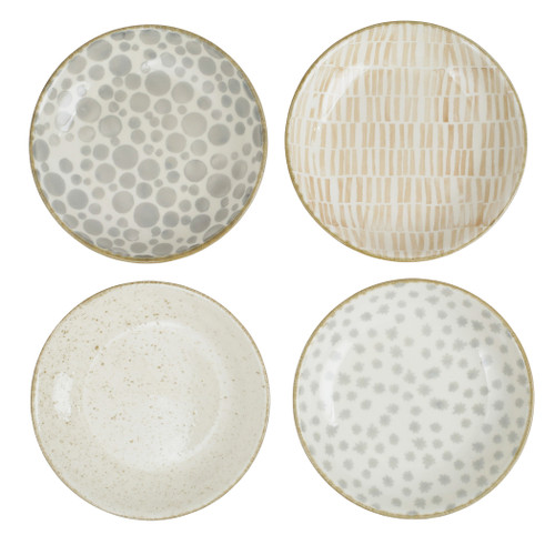 """Vietri Viva Earth Assorted Pasta Bowls Set/4  VETH-003004 9.5""""D, 1.75""""H  The Earth Assorted Pasta Bowls combine mid-century neutral tones with simple silhouettes in four versatile handpainted patterns."""