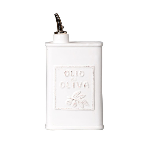 """The Vietri Lastra White Olive Oil is a rustic and chic addition to your kitchen. An overlapping wooden mold, used for centuries to form cheeses throughout Italy, inspired this collection. 8.75""""H, 24 oz LAS-2693W"""