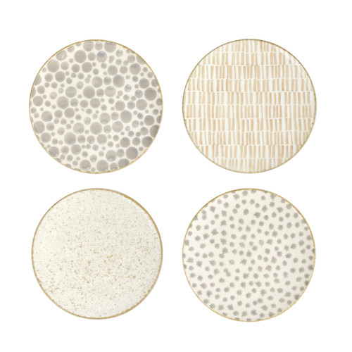 "Vietri Viva Earth Assorted Salad Plates Set/4  VETH-003001 9"" Diameter  The Earth Assorted Salad Plates combine mid-century neutral tones with simple silhouettes in four versatile handpainted patterns."