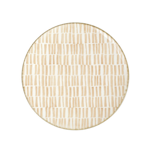 "Vietri Viva Earth Bamboo Dinner Plate  VETH-003000B 10.75""D  The Earth Assorted Dinner Plates combine mid-century neutral tones with simple silhouettes in four versatile handpainted patterns."
