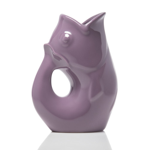 """GurglePot - Lavender  Produces whimsical gurgling sound. Crafted of durable stoneware. Capacity 42 oz. Size 9.5""""H, 4""""W, 6.75""""L Gurgles with or without ice. Perfectly versatile for fresh cut flowers. Make a great gift"""