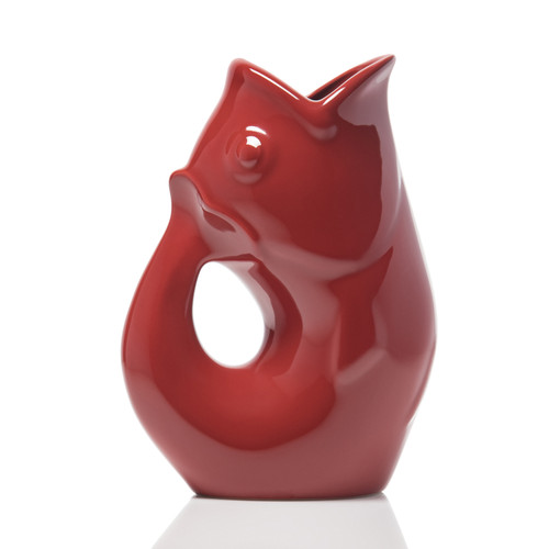 """GurglePot - Red  Produces whimsical gurgling sound. Crafted of durable stoneware. Capacity 42 oz. Size 9.5""""H, 4""""W, 6.75""""L Gurgles with or without ice. Perfectly versatile for fresh cut flowers. Make a great gift"""