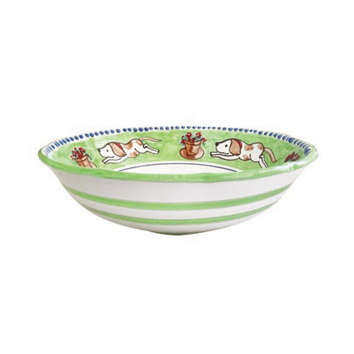 """Vietri Cane Large Serving Bowl CNE-1025 12"""" Diameter  Part of Vietri's premiere dinnerware line from the famed Amalfi Coast, Campagna from plumpuddingkitchen.com offers endless possibilities for artistic entertaining when mixed with solids or the other colorful patterns that capture the vitality of the Italian countryside. The newest design, Cane, features whimsical handpainted pups playfully running through a seaside garden in Positano.  Translation: dog Handmade of terra cotta in Campania Part of the Campagna Collection, VIETRI's very first dinnerware collection introduced in 1983! Dishwasher safe"""