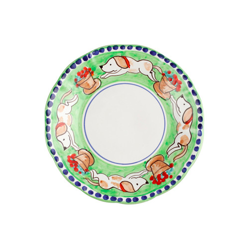 """Vietri Cane Salad Plate CNE-1001 8""""D  Part of Vietri's premiere dinnerware line from the famed Amalfi Coast, Campagna from plumpuddingkitchen.com offers endless possibilities for artistic entertaining when mixed with solids or the other colorful patterns that capture the vitality of the Italian countryside. The newest design, Cane, features whimsical handpainted pups playfully running through a seaside garden in Positano.  Translation: dog Handmade of terra cotta in Campania Part of the Campagna Collection, VIETRI's very first dinnerware collection introduced in 1983! Dishwasher safe"""
