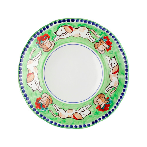 """Vietri Cane Dinner Plate CNE-1000 10""""D  Part of Vietri's premiere dinnerware line from the famed Amalfi Coast, Campagna from plumpuddingkitchen.com offers endless possibilities for artistic entertaining when mixed with solids or the other colorful patterns that capture the vitality of the Italian countryside. The newest design, Cane, features whimsical handpainted pups playfully running through a seaside garden in Positano.  Translation: dog Handmade of terra cotta in Campania Part of the Campagna Collection, VIETRI's very first dinnerware collection introduced in 1983! Dishwasher safe"""