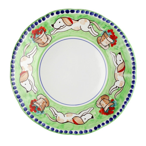 """Vietri Cane Service Plate/Charger CNE-1020 12""""D  Part of Vietri's premiere dinnerware line from the famed Amalfi Coast, Campagna from plumpuddingkitchen.com offers endless possibilities for artistic entertaining when mixed with solids or the other colorful patterns that capture the vitality of the Italian countryside. The newest design, Cane, features whimsical handpainted pups playfully running through a seaside garden in Positano.  Translation: dog Handmade of terra cotta in Campania Part of the Campagna Collection, VIETRI's very first dinnerware collection introduced in 1983! Dishwasher safe"""