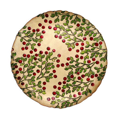 """Cranberry Glass Round Platter  CBR-5221 13""""D  The traditional holiday berry adds elegance in gilded gold glass with accents of brilliant red and green.  Designed in Italy.  Handwash."""