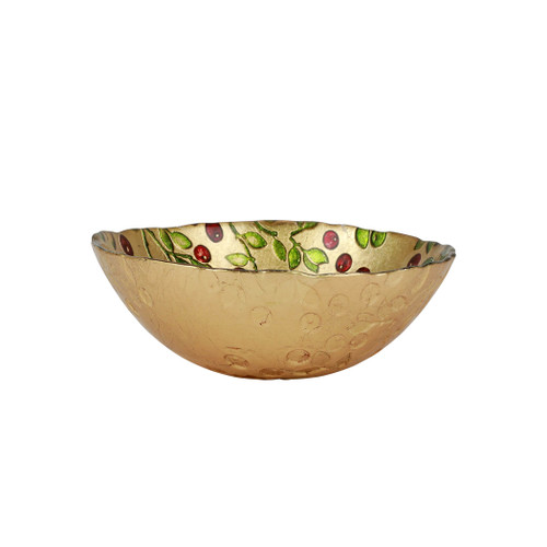 """Cranberry Glass Cereal Bowl  CBR-5205 6.5""""D, 2.5""""H  The traditional holiday berry adds elegance in gilded gold glass with accents of brilliant red and green.  Designed in Italy.  Handwash."""