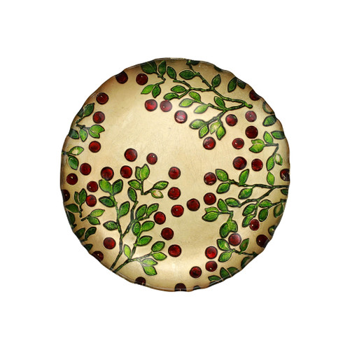 """Cranberry Glass Salad Plate  CBR-5201  8.5""""D  The traditional holiday berry adds elegance in gilded gold glass with accents of brilliant red and green.  Designed in Italy.  Handwash."""
