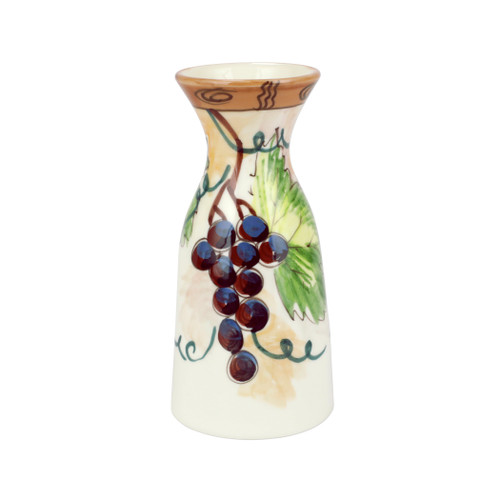 """Vietri Cantina Wine Carafe  CNT-78105 9.75""""H, 40oz  The harvesting of grapes to make wine, a long sought after tradition in Italy, is beautifully reflected in the handpainted scenes of Cantina from plumpuddingkitchen.com. Handpainted on terra bianca in Tuscany. Dishwasher safe."""